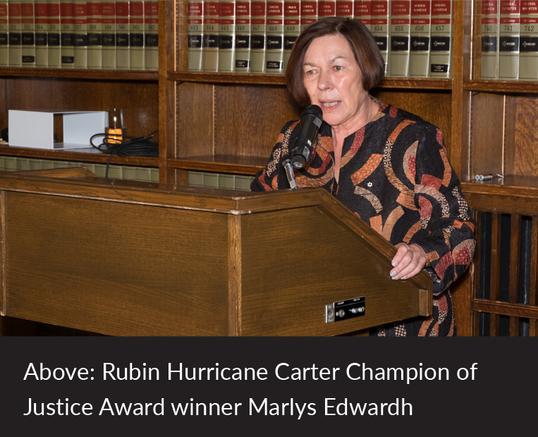 Rubin Hurricane Carter Champion of Justice Award winner Marlys Edwardh