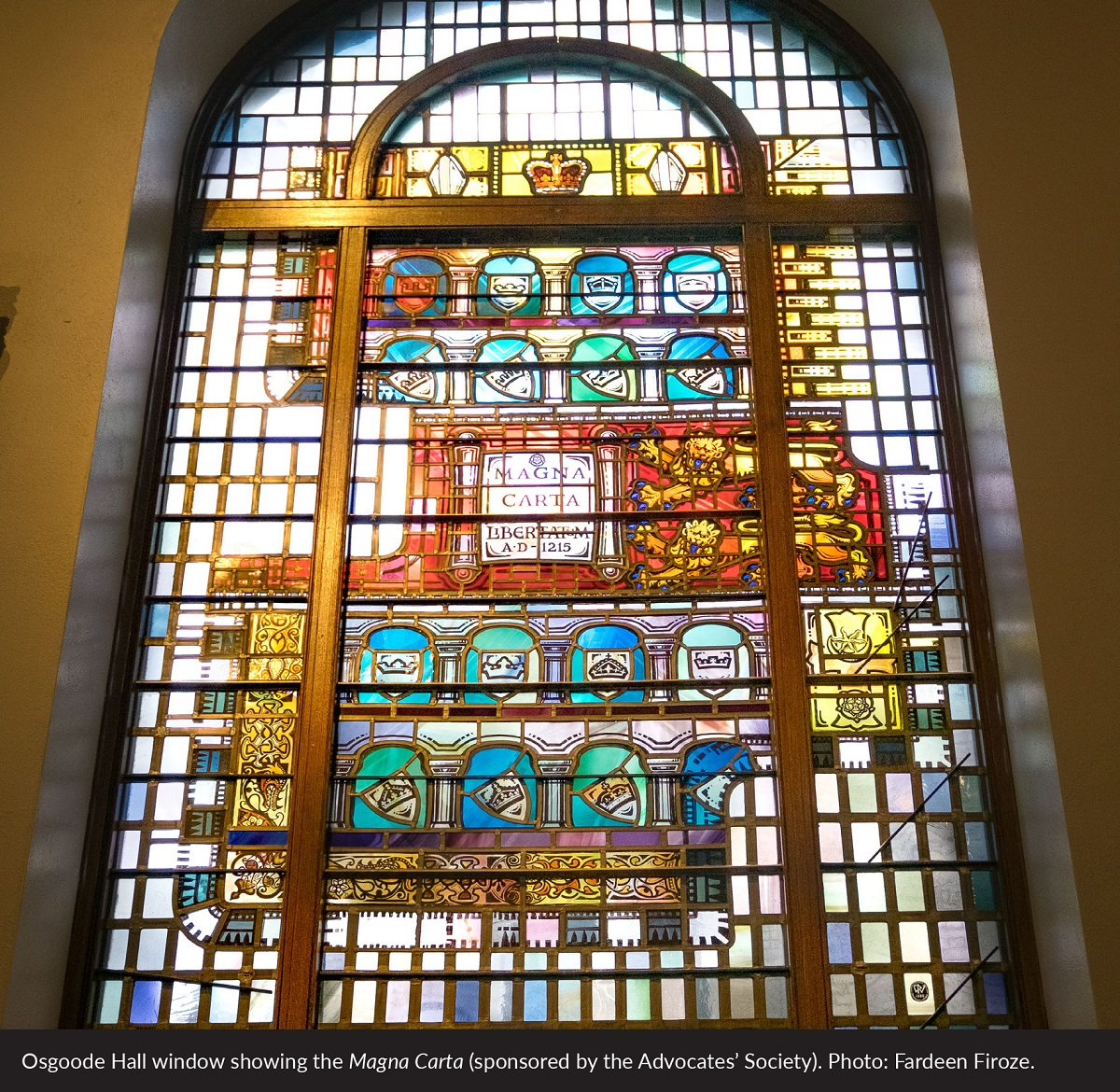 Osgoode Hall window showing the Magna Carta