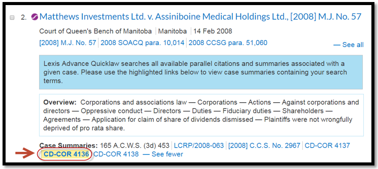 New Highlighting of Case Summary in Result List