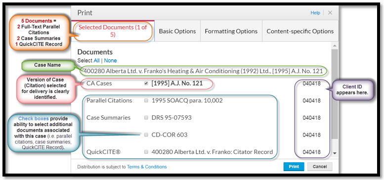 Enhancements to Selected Documents Tab in Delivery Dialogue Box for Print, Download and Email