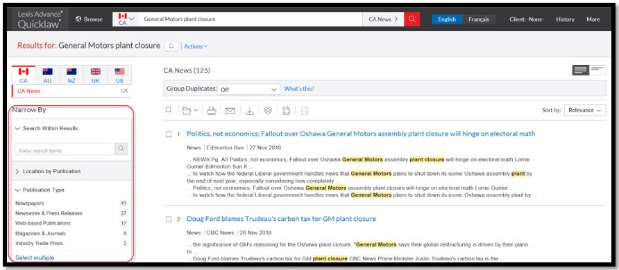 add Canada News Sources to your search via Pre-search filters
